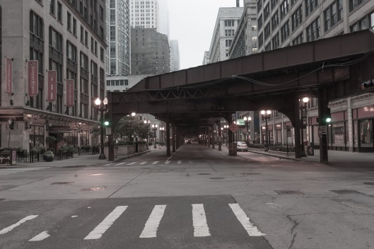 Rail platform structure  corner Lake and along Wabash Streets Ch
