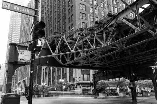 Rail platform structure  corner Lake and Wabash Streets Chicago.